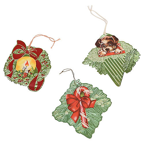 Trio of Foil and Paper 1940s Ornaments