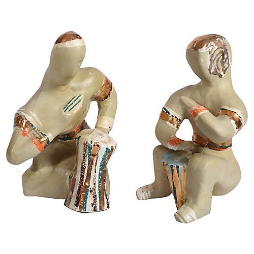 Midcentury Art Pottery Musicians, S/2