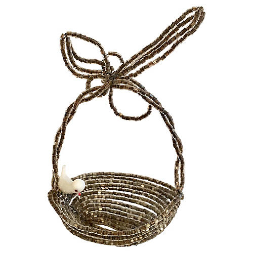 Beaded Basket with Bird Ornament