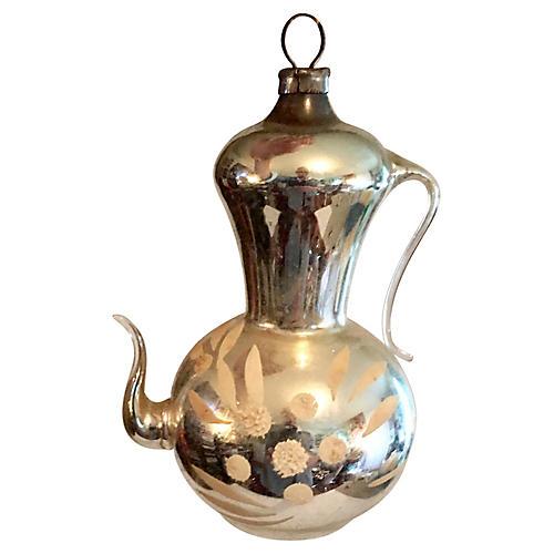 Mercury Glass Coffee Pot Ornament