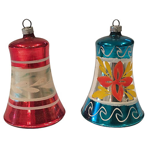 Fancy Mercury Glass Bell Ornaments, Pair