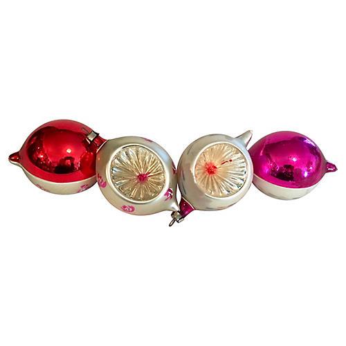 Fancy Indented Teardrop Ornaments S/ 4