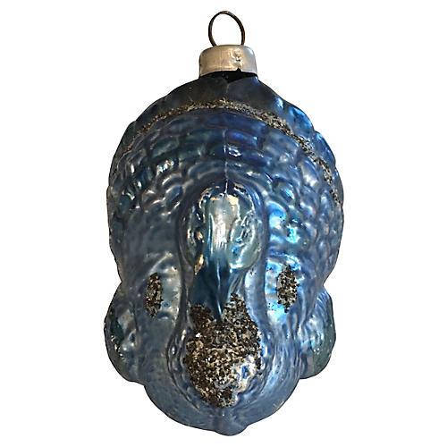 Blue Glittered Turkey Ornament