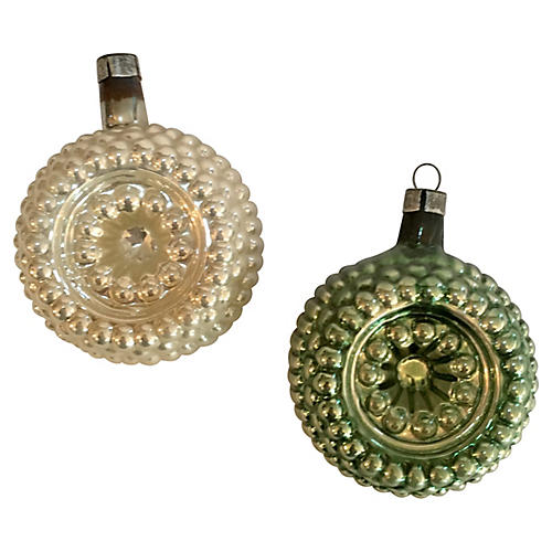 Textured Indented Glass Ornaments, Pair
