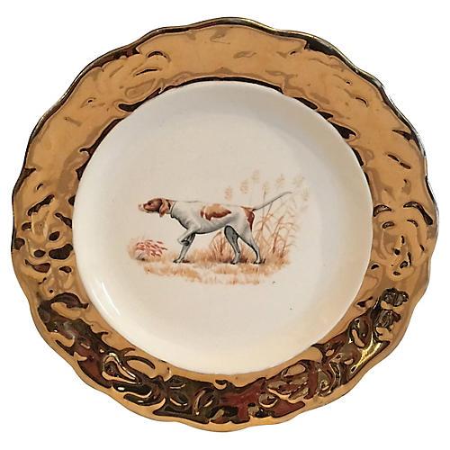 Hunting Dog Plate w/ Gold Trim