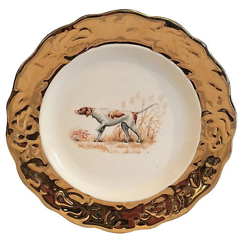 Hunting Dog Plate w/ Gold Trim