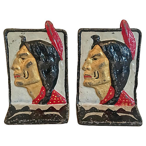 Native American Bookends, Pair