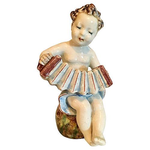 Art Pottery Cherub w/ Accordion