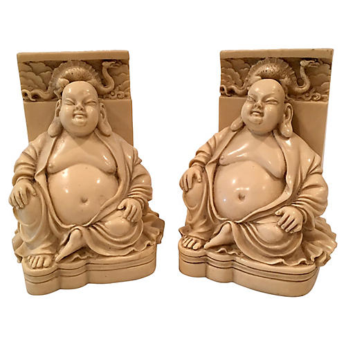 Buddha & Dragon Chinoiserie Bookends