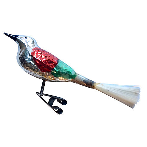 Clip on Glass Bird w/ Spun Glass Tail