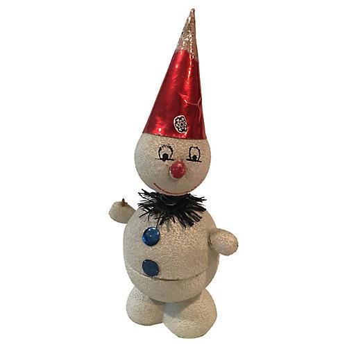 German Papier Mache Snowman Candy Holder