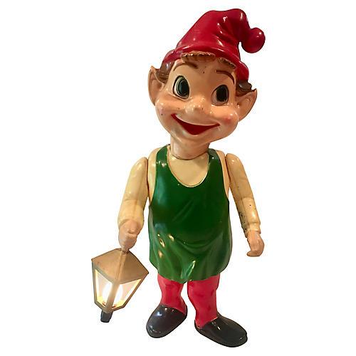 Large Midcentury Elf w/ Lighted Lantern