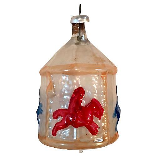 Blown Glass Carousel Ornament