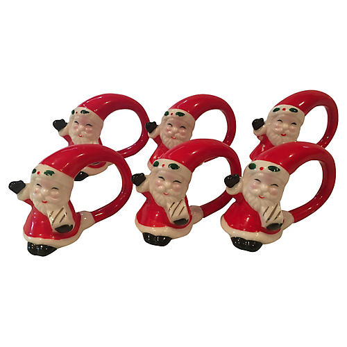 Waving Santa Porcelain Napkin Rings