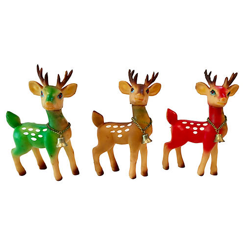 Midcentury Reindeer w/ Jeweled Eyes S/3