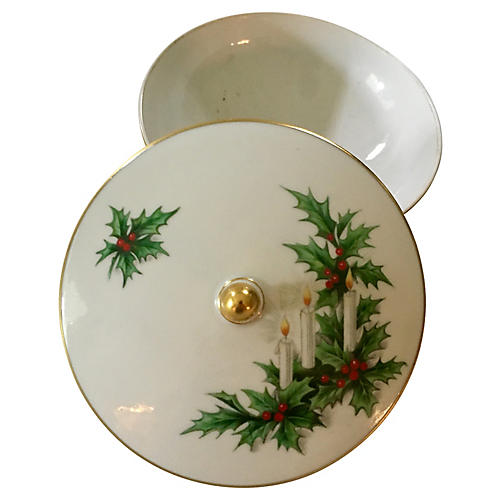 Porcelain Lidded German Holly Candy Dish