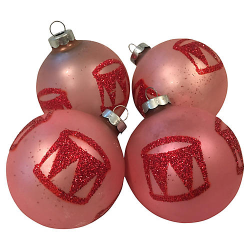 1960s Glittered Pink Drum Ornaments S/4