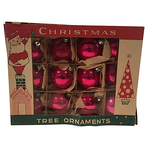 Hot Pink Ornaments in Orig Box S/12