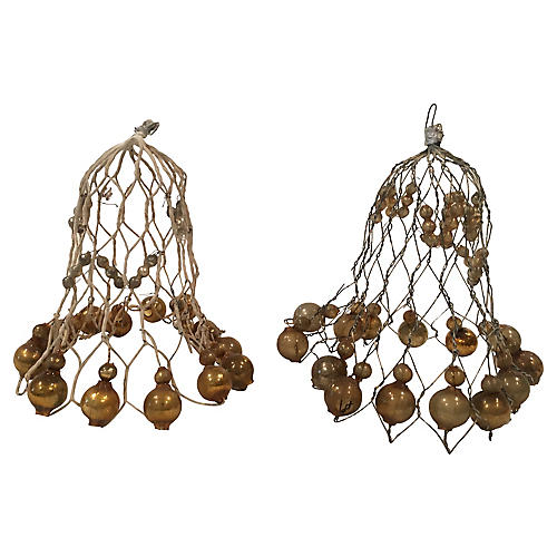 Large Antique Wire Bells wGold Balls S/2
