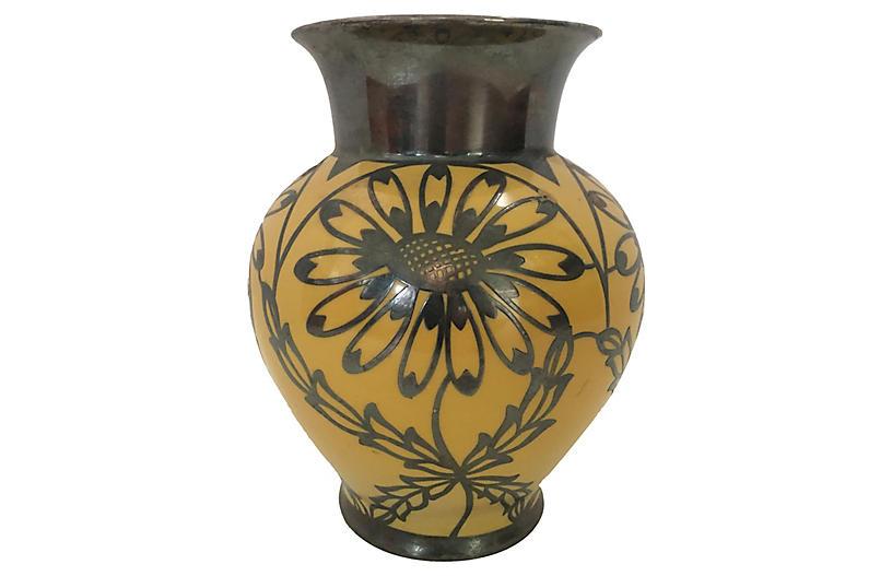 German Silvered Floral Porcelain Vase
