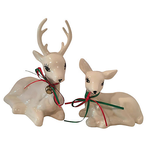 Large White Pottery Reindeer, Pair