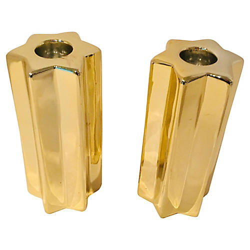 Tall Star Golden Ceramic Candle Holders
