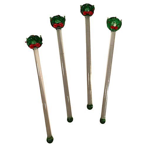 Blown Glass Wreath Swizzle Sticks, S/4