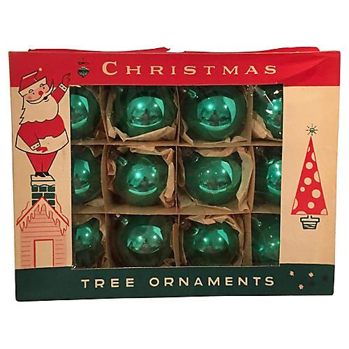 Jade Green Ornaments, Original Box S/12