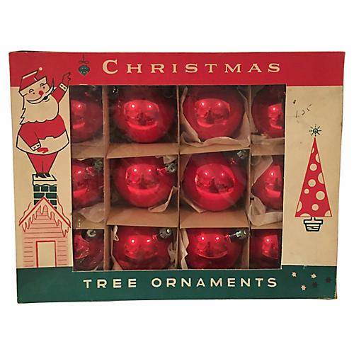 Scarlet Christmas Balls, Orig Box S/12
