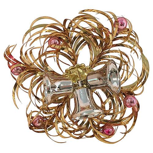 Midcentury Gold Wreath w/ Bells Orig Box