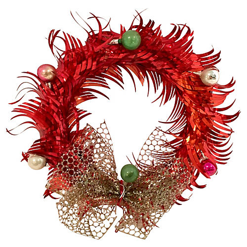 Midcentury Red Metal Decorated Wreath