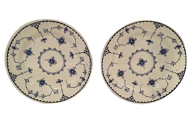 English Blue & White Floral Plates, Pair