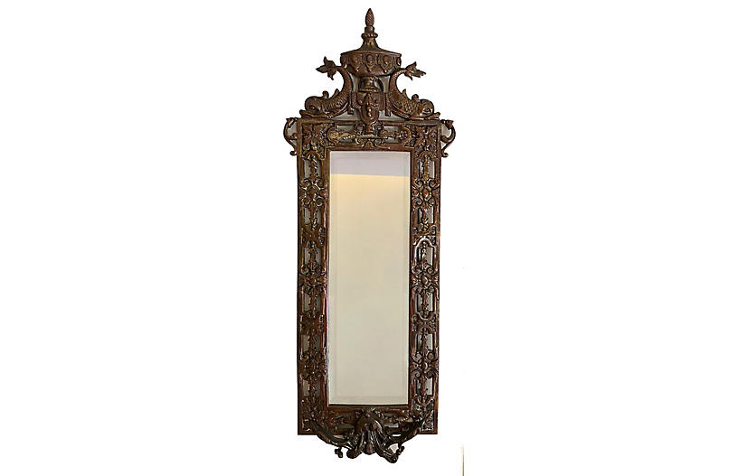 Beveled Mirror w/ Ornate Bronze Frame