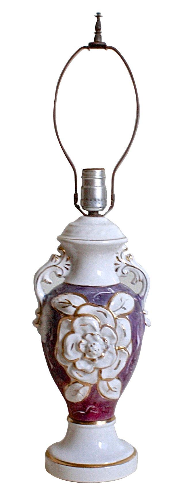 1940s Urn Porcelain Table Lamp