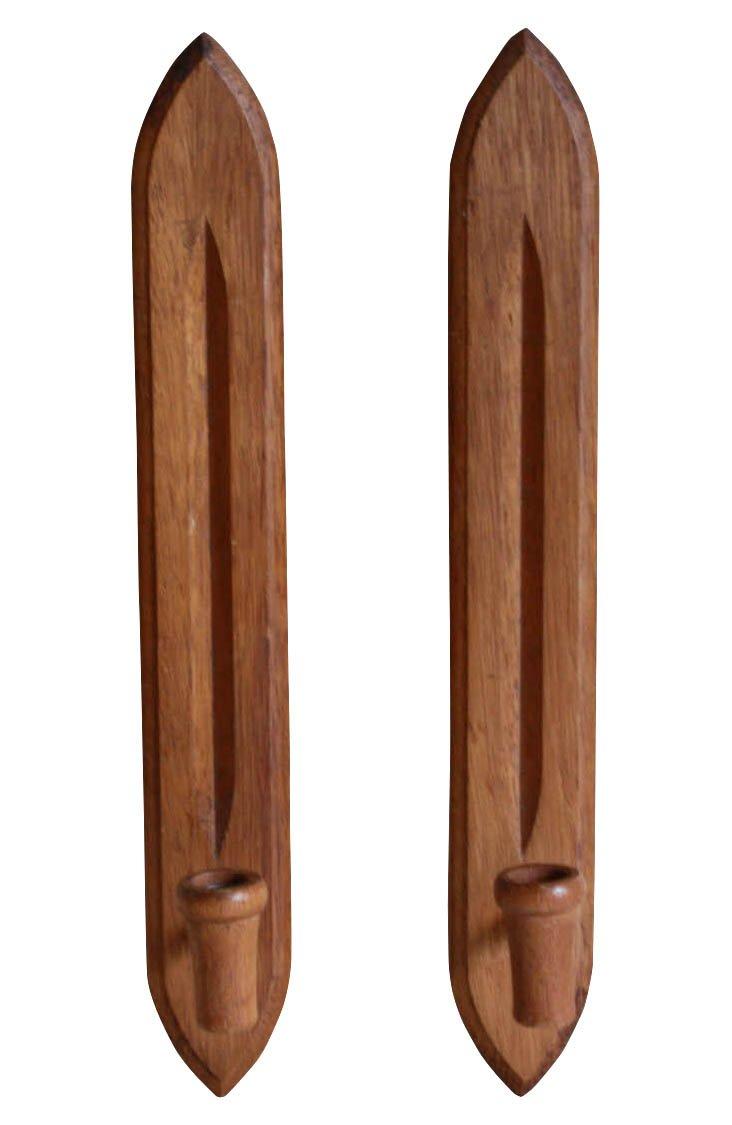 Teak Wood Candle Sconces, Pair