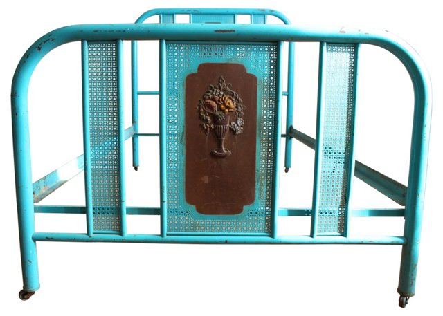 Antique Rolling Turquoise Bed, Full