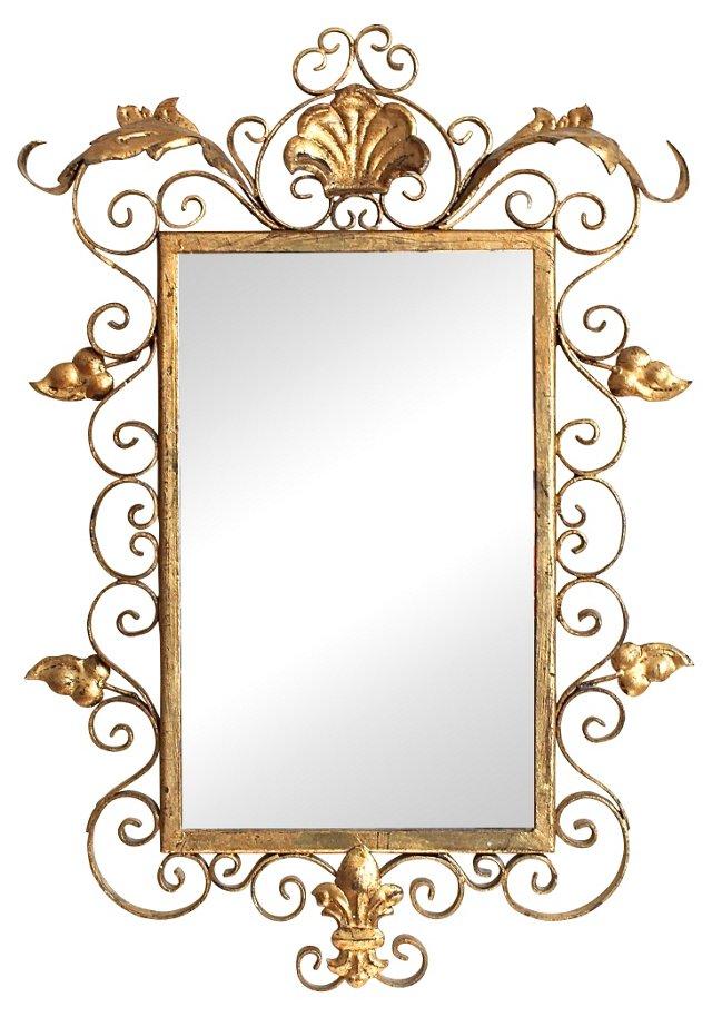 Italian Iron Fleur-de-Lis Mirror
