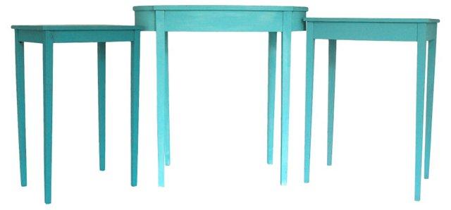 Aqua Nesting Tables, S/3