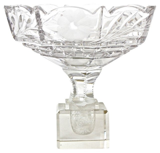 Art Deco Etched Crystal Compote