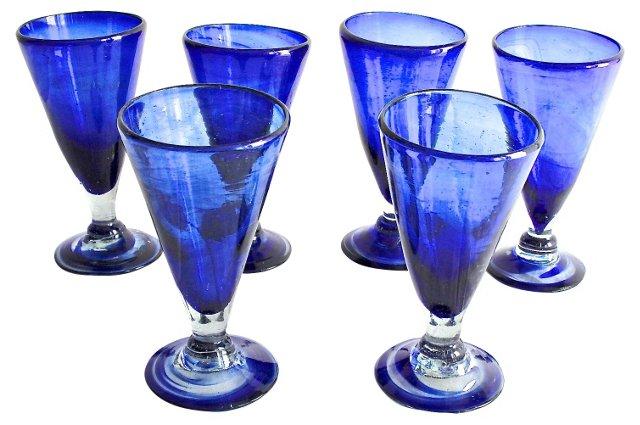 Cobalt Glassware, S/6