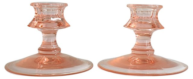 Pink Glass Candleholders, Pair