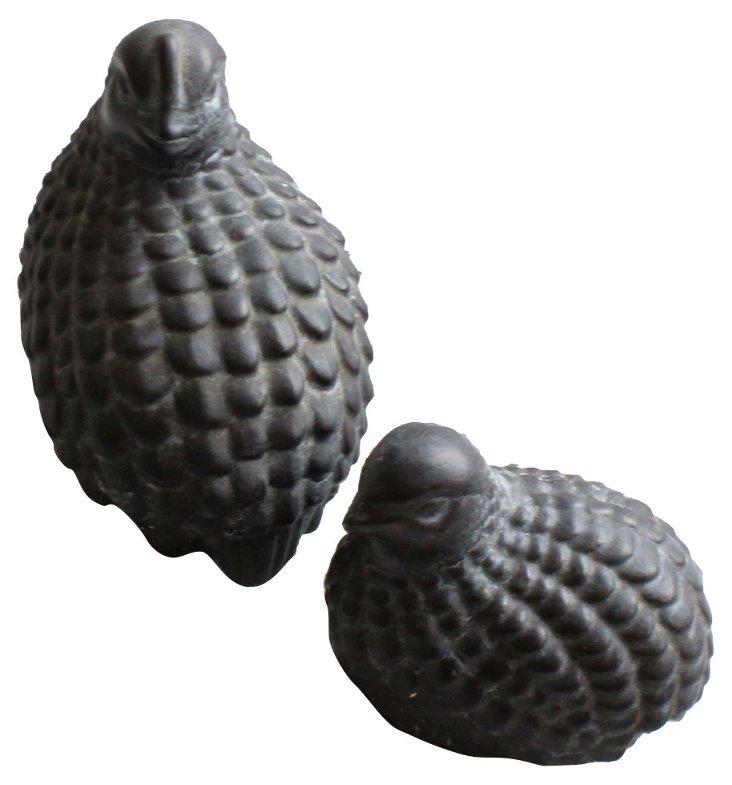 Black Porcelain Quail, Pair