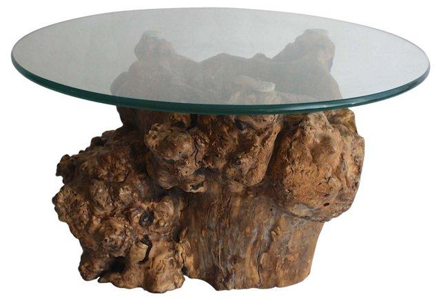 Burlwood Table w/ Glass Top