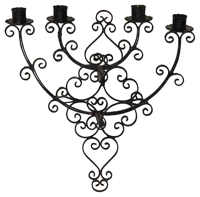 Black Iron Candle Sconce