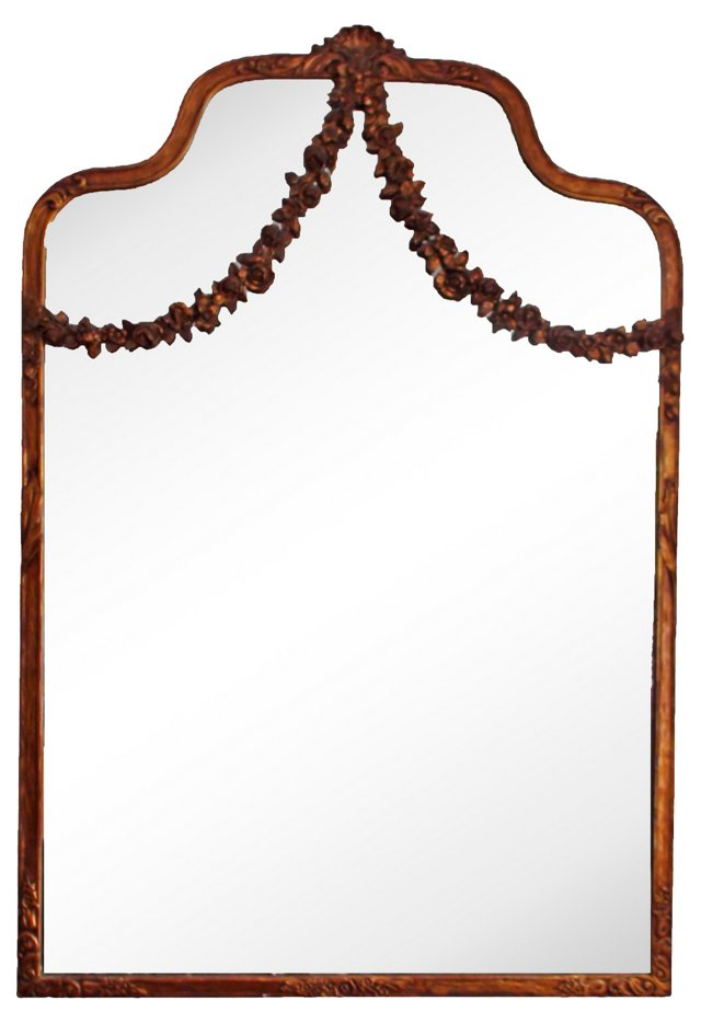 French Hand-Carved Garland Mirror