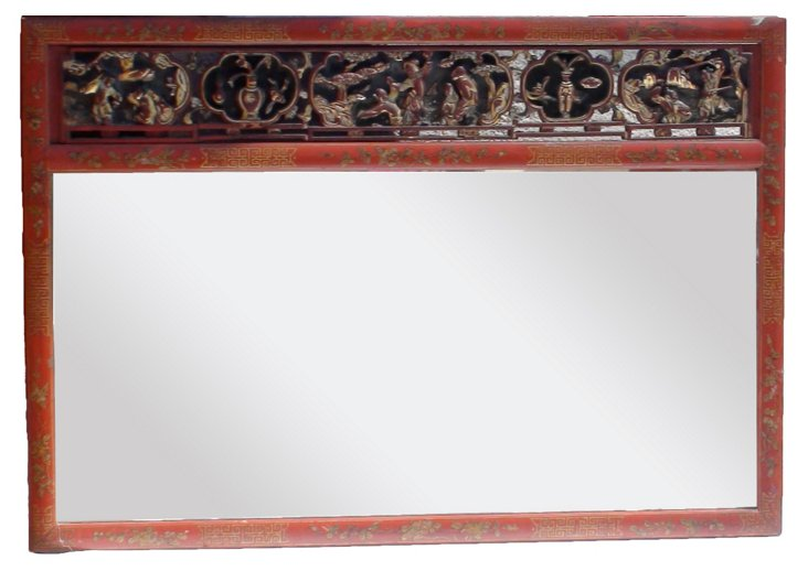 Red Lacquer Carved Chinese Mirror
