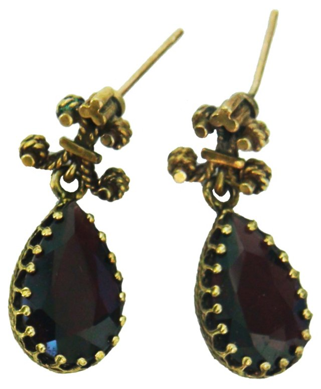 14K Fleur-de-Lis Garnet Earrings