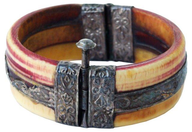 Stamped Silver & Bone Bracelet