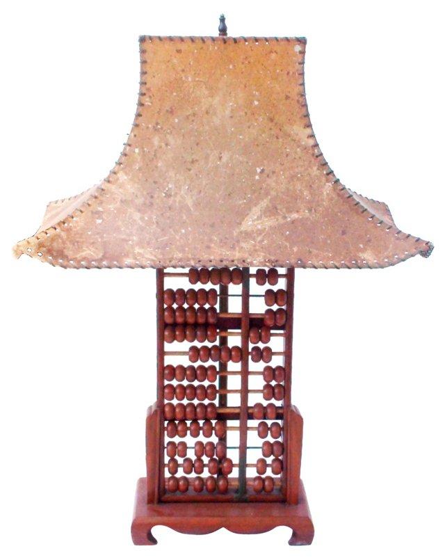 Teak Abacus Lamp