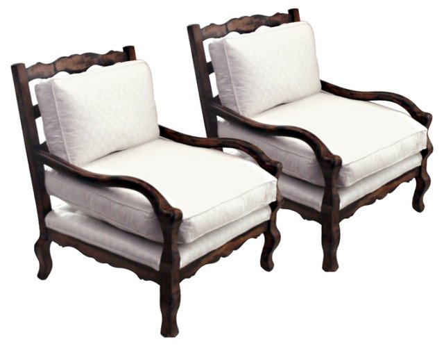 Armchairs w/ Fortuny Fabric, Pair